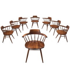 George Nakashima Rare Set of Eight 'Captain' Chairs