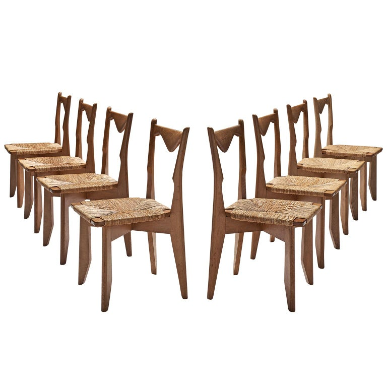 Guillerme & Chambron Set of Eight Oak and Cord Chairs