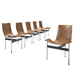 Katavolos, Kelly and Littell Set of Six T-Chairs in Cognac Leather