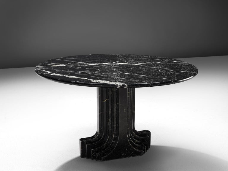 Carlo Scarpa reeditioned by Simon, 'Argo' travertine table, Italy, 1980s.
