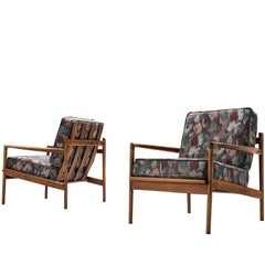 Ib Kofod-Larsen for Selig Walnut Lounge Chairs