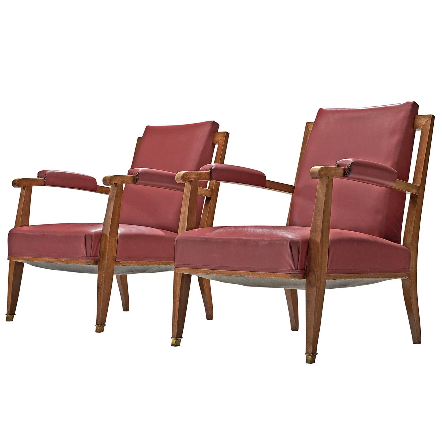 Jules Leleu Pair Of Pink Faux Leather Armchairs For Sale