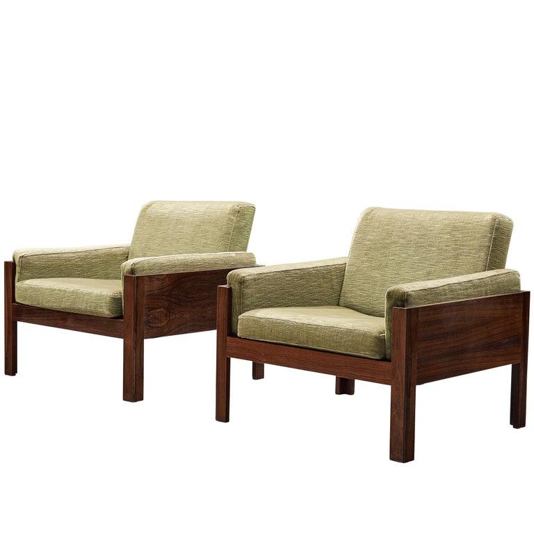 Scandinavian Minimalist Rosewood Lounge Chairs, circa 1960