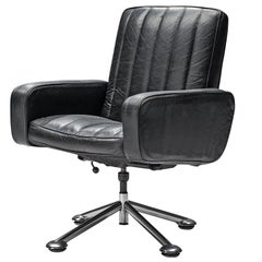 Sven Ivar Dysthe Desk Chair in Black Leather