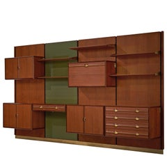 Exquisite Teak and Brass Wall Unit by Cantú