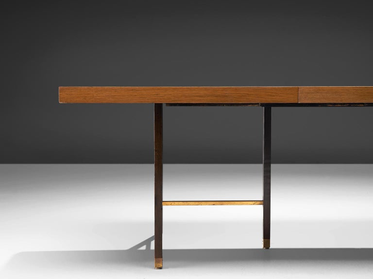 American Harvey Probber Brass and Mahogany Extendable Dining Table For Sale