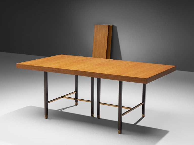 Harvey Probber Brass and Mahogany Extendable Dining Table In Good Condition For Sale In Waalwijk, NL