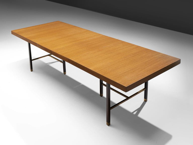 Mid-Century Modern Harvey Probber Brass and Mahogany Extendable Dining Table For Sale
