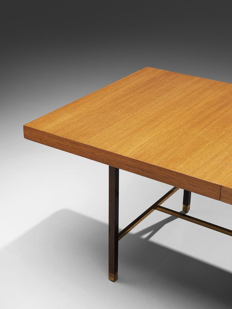 Mid-20th Century Harvey Probber Brass and Mahogany Extendable Dining Table For Sale