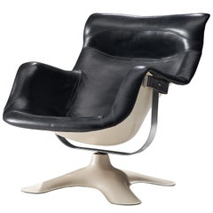 Yrjo Kukkapuro 'Karuselli' Lounge Chair in Black Leather Upholstery