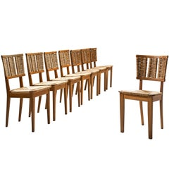 Mart Stam Set of Eight Oak and Rush Dining Chairs