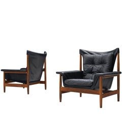 Illum Wikkelsø Lounge Chairs with Black Leather and Rosewood