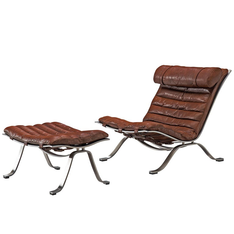 Arne Norell 'Ari' Lounge Chair and Ottoman in Leather