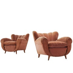Italian Pair of Curvy Pink Velvet Lounge Chairs