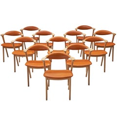 Erik Kirkegaard Set of Twelve Oak and Leather Chairs