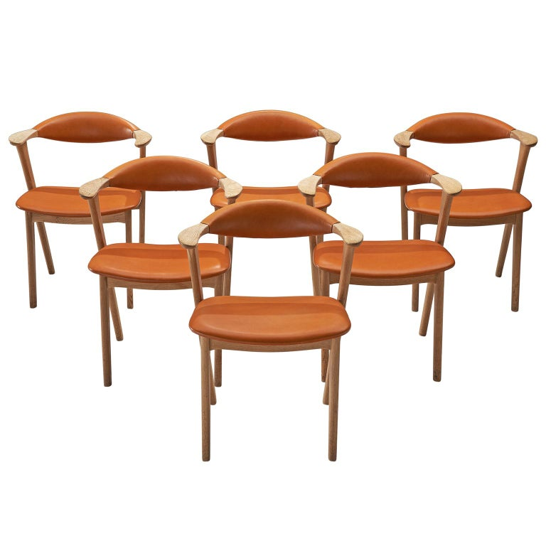 Erik Kirkegaard Set of Six Oak and Leather Chairs