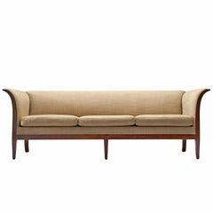 Frits Henningsen Sofa in Mahogany and Fabric