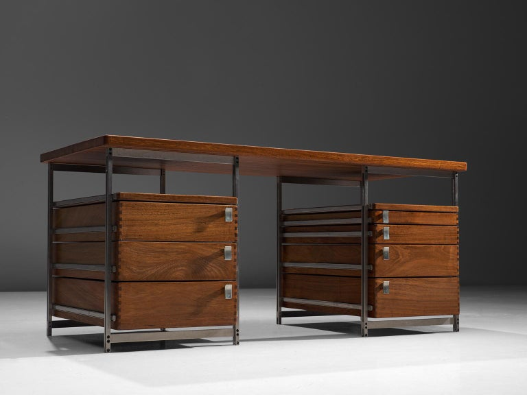 Jules Wabbes, writing desk from the Foncolin building, mutenyé and nickel-plated metal, Belgium, 1957.  Beautiful designed desk by one of Belgium's most renowned designers Jules Wabbes. This piece is made for the Foncolin building, one of Wabbes