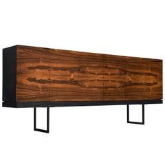 Large Rosewood Sideboard with Black Metal Frame