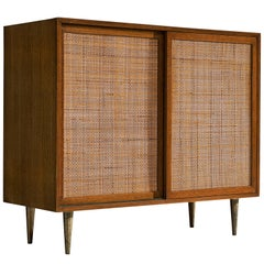 Harvey Probber Rattan and Mahogany Cabinet
