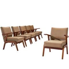 Set of Six Italian Armchairs in Mahogany