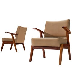 Pair of Easy Chairs in Mahogany and Leatherette