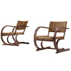 Bas Van Pelt Pair of Easy Chairs with Bentwood