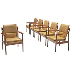 Arne Vodder Set of Six Dining Chairs with Cognac Leather