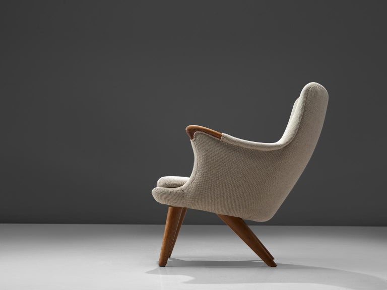 Danish armchair, oak and light grey fabric, Denmark, 1960s