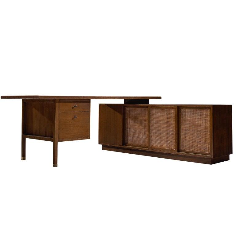 Harvey Probber Mahogany Desk with Storage Cabinet