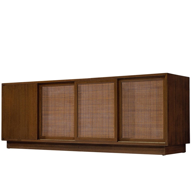 Harvey Probber Mahogany Sideboard with Rattan Sliding Doors For Sale
