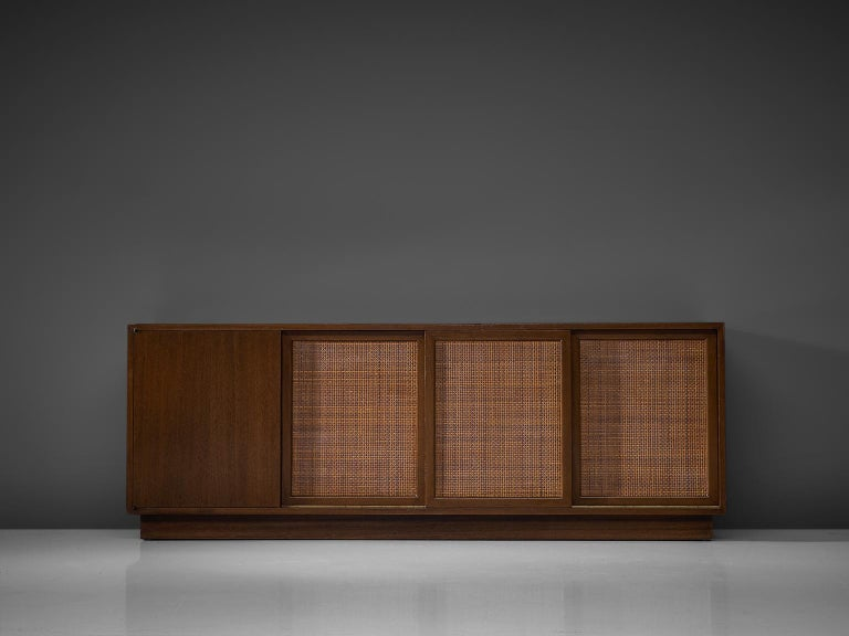 Mid-Century Modern Harvey Probber Mahogany Sideboard with Rattan Sliding Doors For Sale