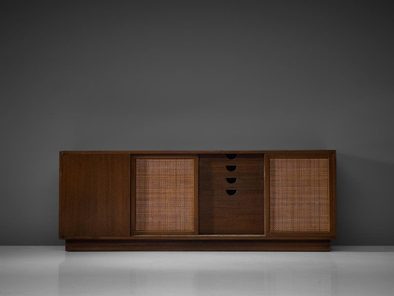 American Harvey Probber Mahogany Sideboard with Rattan Sliding Doors For Sale