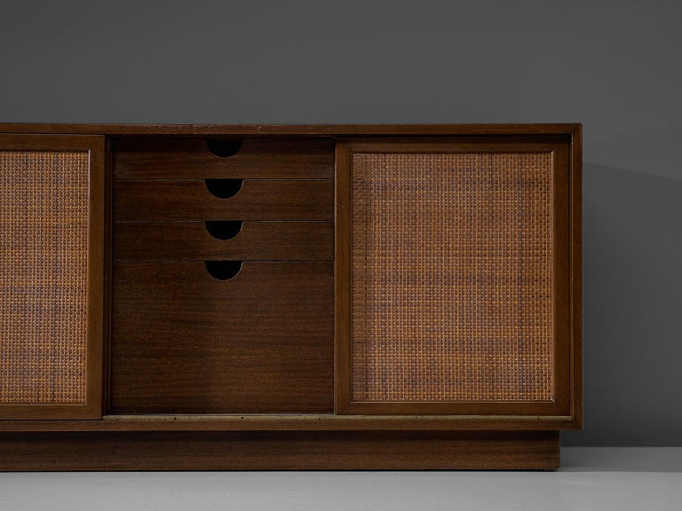 Mid-20th Century Harvey Probber Mahogany Sideboard with Rattan Sliding Doors For Sale