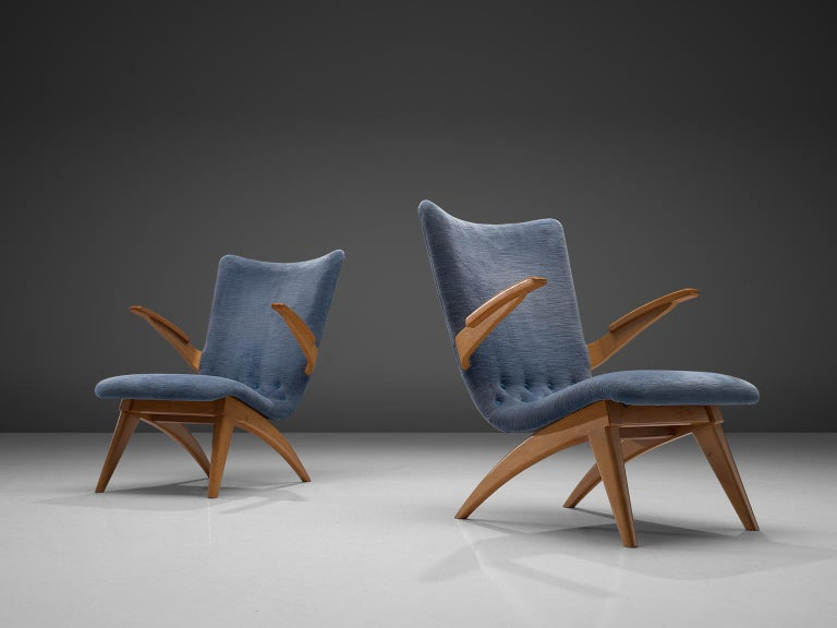 Dutch Van Os Armchairs with Blue Upholstery For Sale
