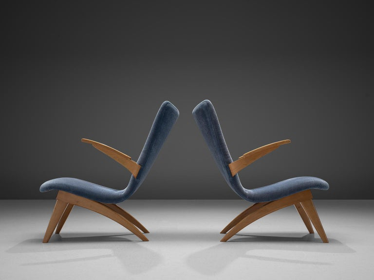 Mid-Century Modern Van Os Armchairs with Blue Upholstery For Sale