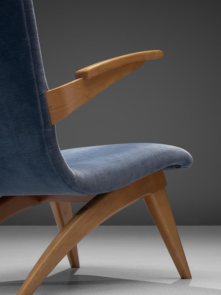 Van Os Armchairs with Blue Upholstery In Good Condition For Sale In Waalwijk, NL