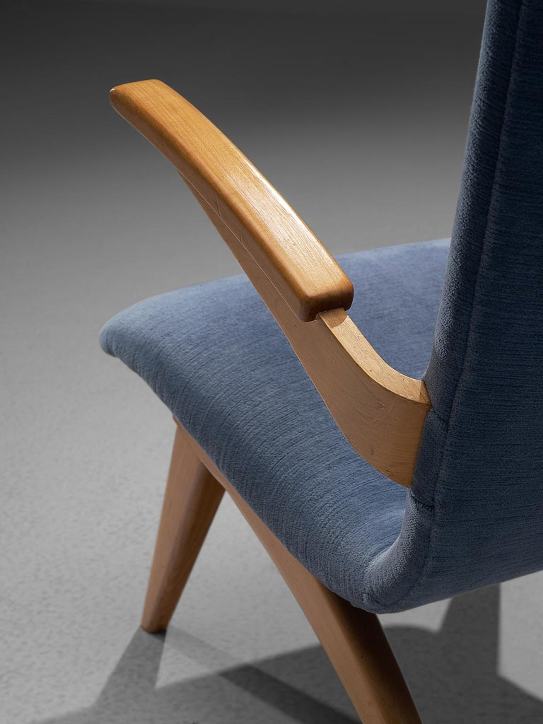 Fabric Van Os Armchairs with Blue Upholstery For Sale