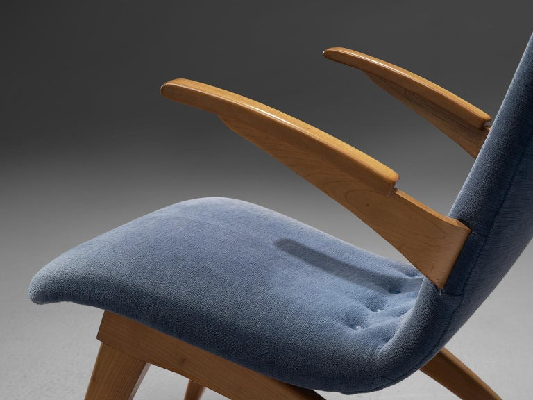 Van Os Armchairs with Blue Upholstery For Sale 1