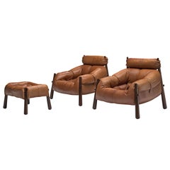 Percival Lafer Pair of 'MP-81' Lounge Chairs with Ottoman in Rosewood and Cognac
