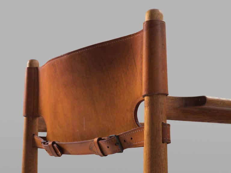 Børge Mogensen Set of Four '3238' Armchairs in Oak and Cognac Leather For Sale 1