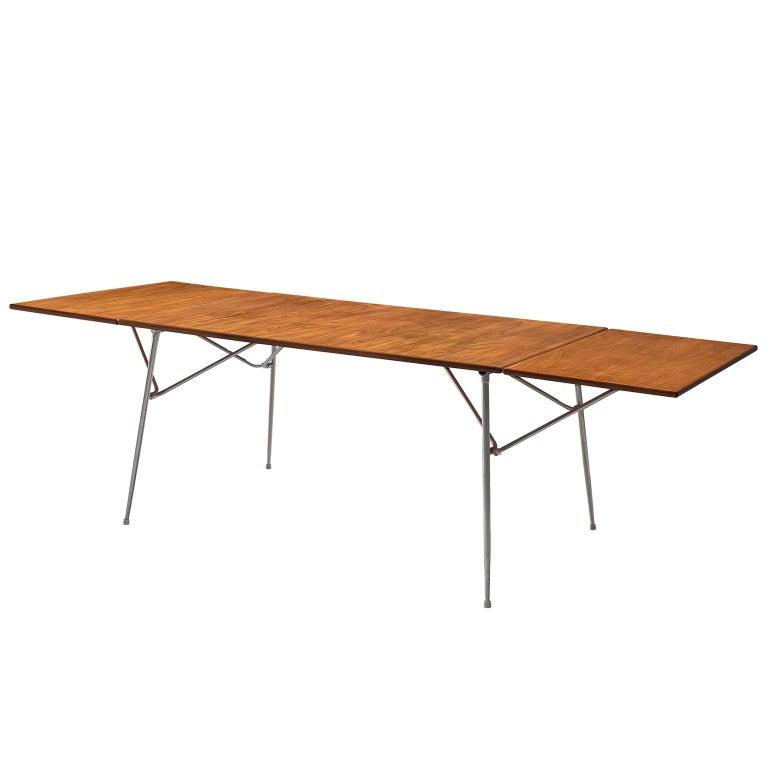 Børge Mogensen Drop-Leaf Dining Table in Teak and Steel
