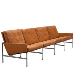 Fabricius and Kastholm Cognac Leather Sofa with Steel Frame