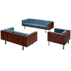 Danish Lounge Set with Rosewood and Blue Upholstery