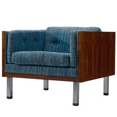 Danish Club Chair with Rosewood and Blue Upholstery