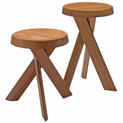 Pierre Chapo Pair of Stools in Solid Elm