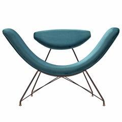 Martin Eisler Reversible Chair in Blue Upholstery