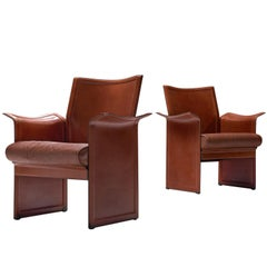Tito Agnoli Pair of 'Korium' Chairs in Cognac Leather