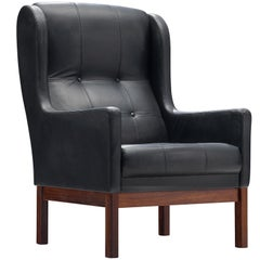 Danish Black Leather Lounge Chair with Rosewood Frame, 1960s