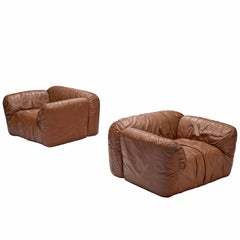 Set of Two Brown Leather Armchairs, Italy, 1970s
